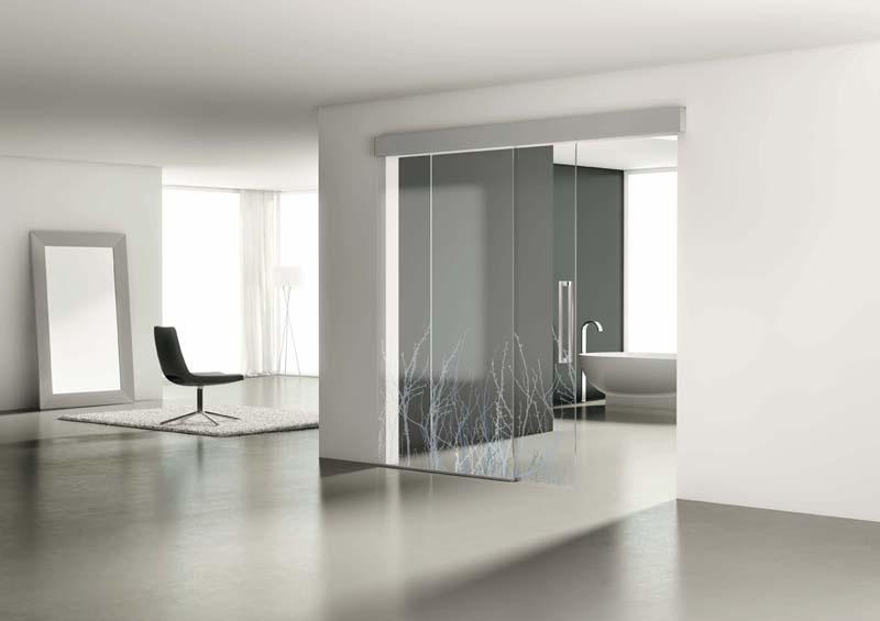 Puerta de cristal con dos hojas correderas aluminios - Puertas interior cristal ...