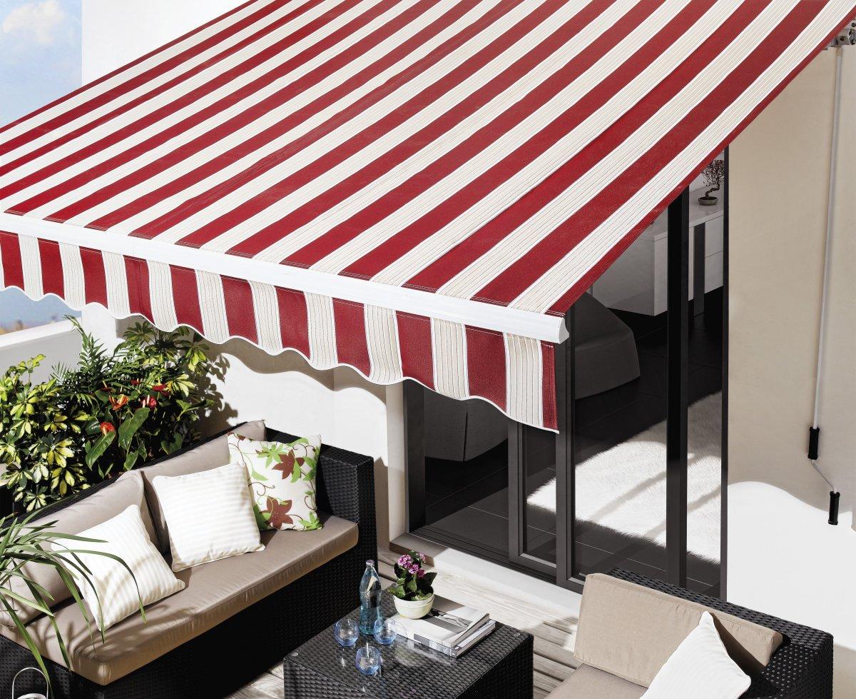 Toldo para exterior en rojo y blanco aluminios villalba empresa de aluminios y pvc en madrid - Toldos para exterior ...